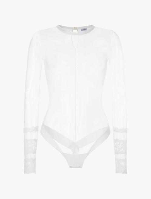 White long-sleeved bodysuit