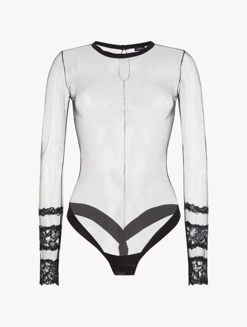 Black long-sleeved bodysuit
