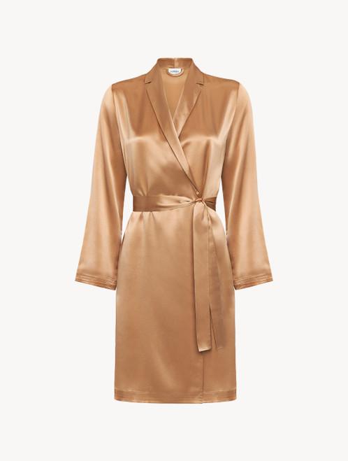 Caramel silk short robe
