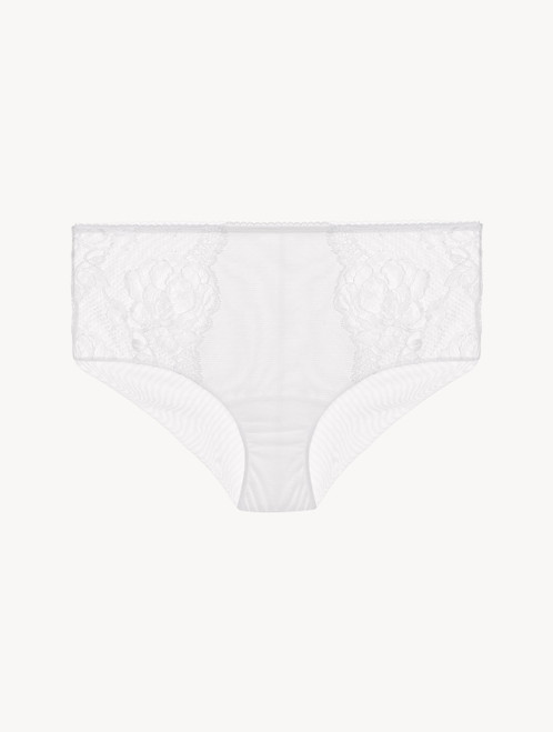 White lace high-waisted brief