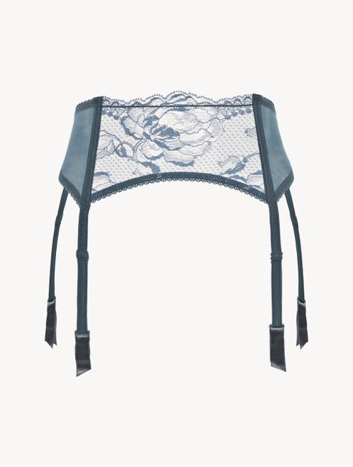 Dark blue lace suspender belt