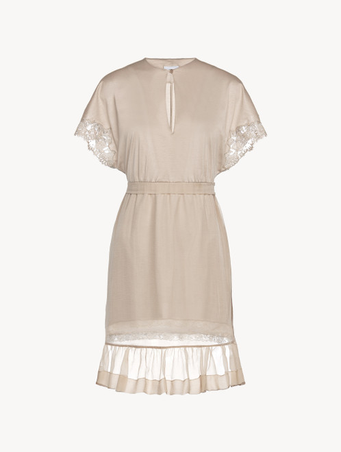 Soft beige short sleeved cotton and chiffon nightgown