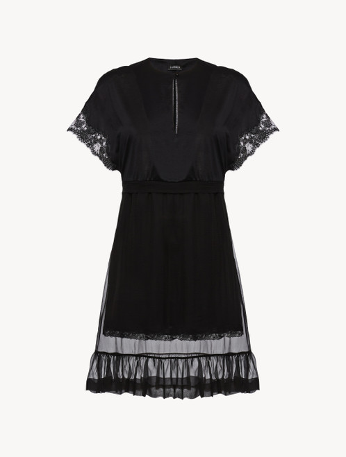 Black short sleeved cotton and chiffon nightgown