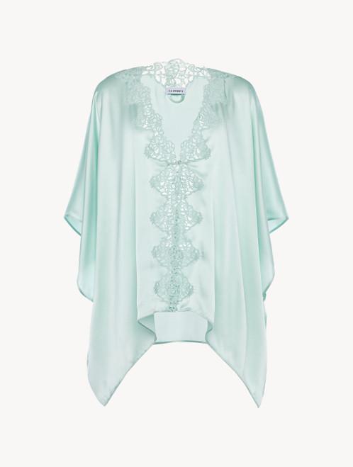 Mint green silk robe with macramé