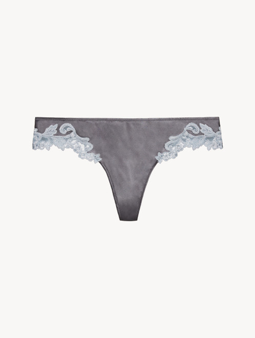 Grey silk thong with lurex frastaglio
