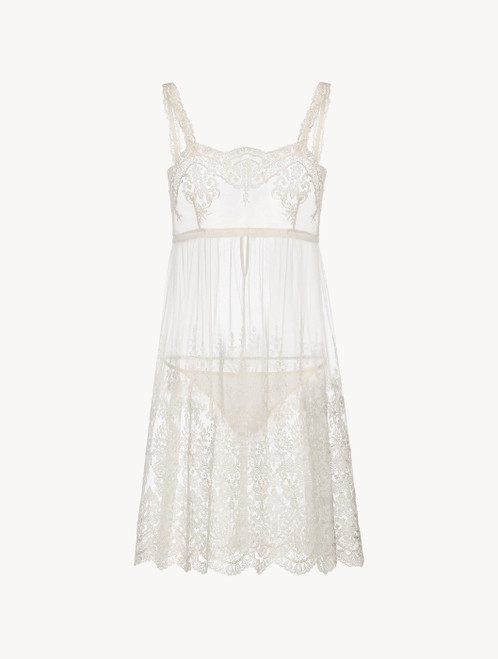 Off-white embroidered short slip and thong set