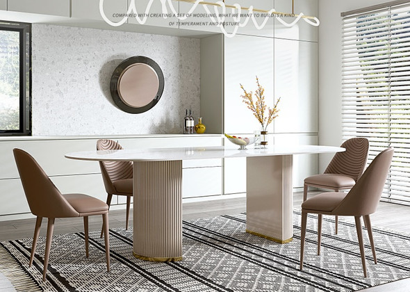 Oval Design Sintered Stone Dining Table