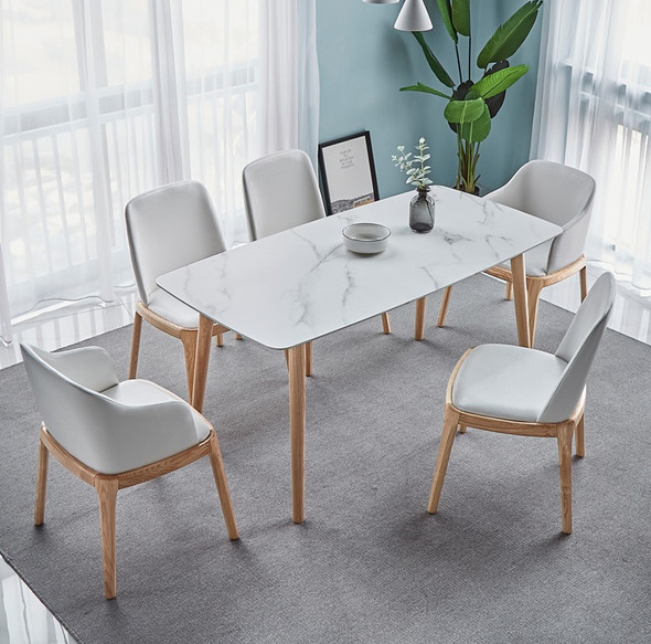 Sintered stone X Solid Wood Dining Table