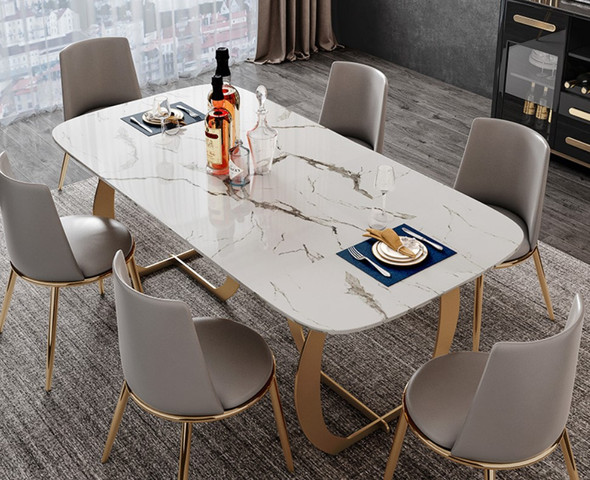 Sintered Stone Dining Table Curve Frame