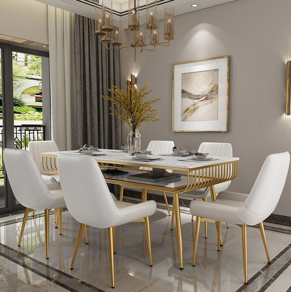 Nordic Sintered Stone Dining Table with Gold Frame