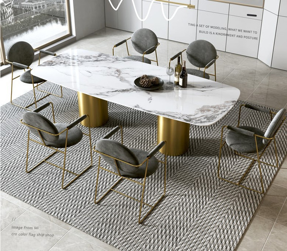 Glossy Sintered Stone Dining Table with gold plate