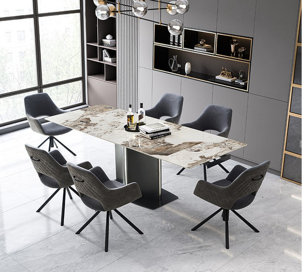 Extendable Side Sintered Stone Dining Table
