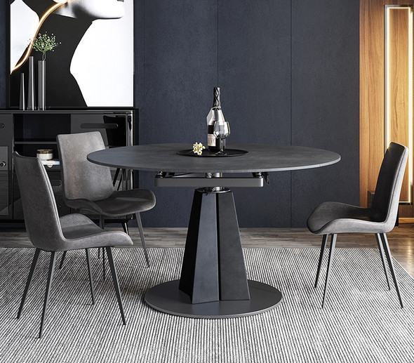 Extendable Black Sintered Stone Dining Table