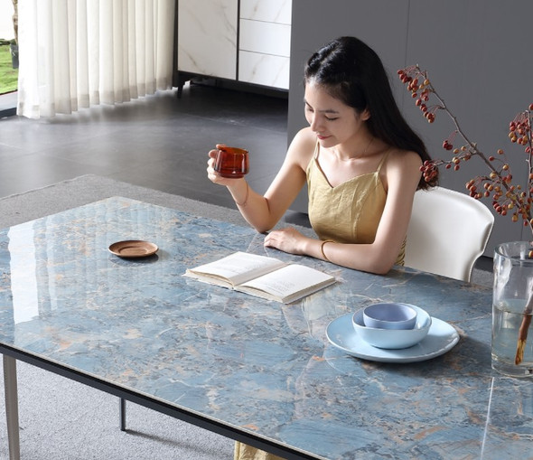 Blue Sintered Stone Dining Table