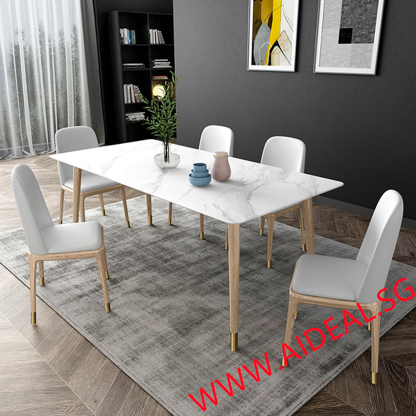 Sintered Stone Wooden Frame Dining Table