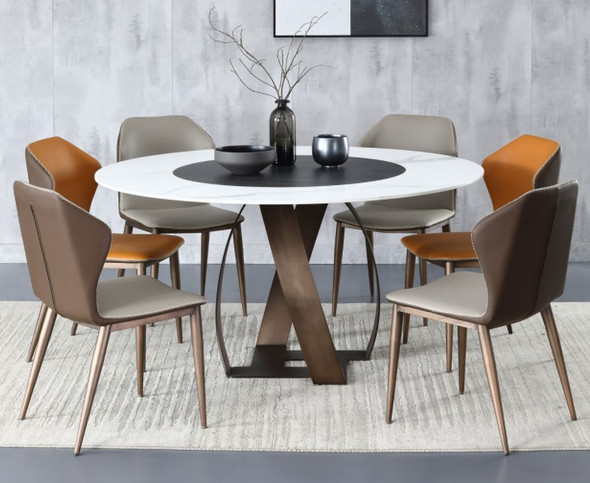 Round Snow White Sintered Stone Dining Table