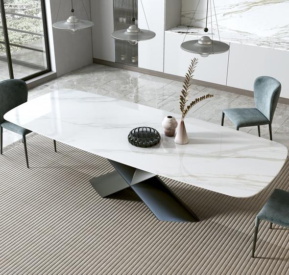 Sintered Stone Dining Table Cross Frame Design