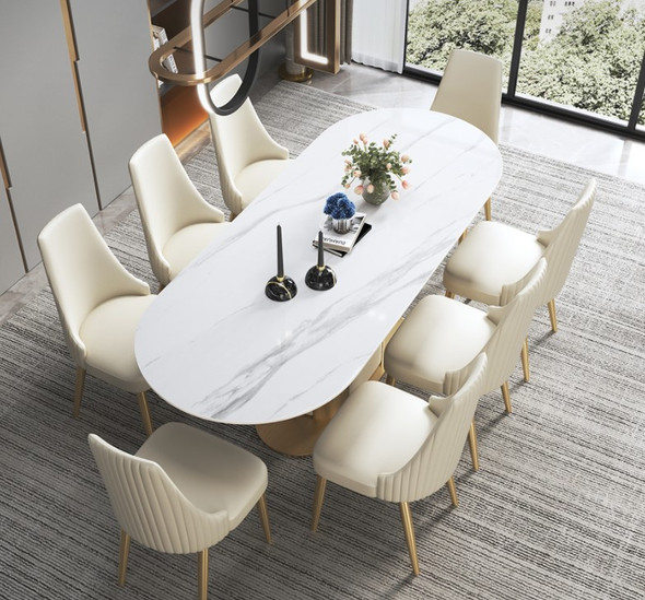 Oval Snow White Sintered Stone Dining Table