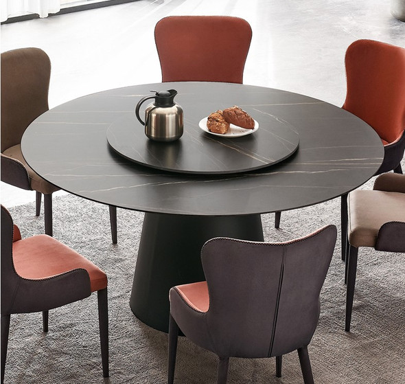 Black Round Sintered Stone Dining Table