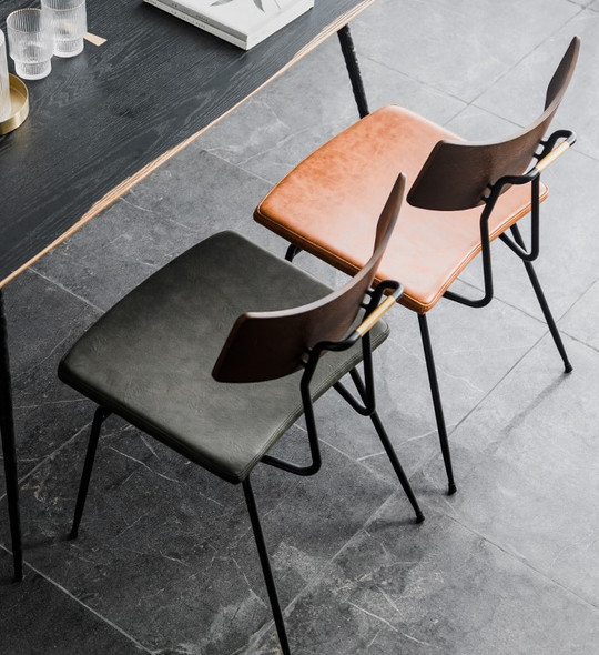 Industrial Minimalist Leather Dining Chair