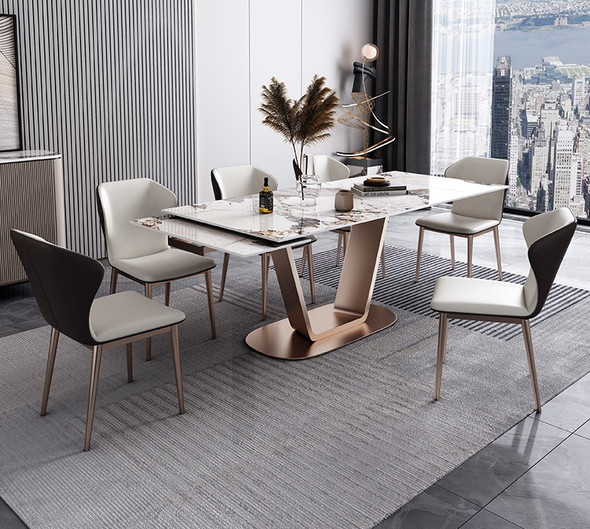 Luxe Grey Extendable Sintered Stone Dining Table