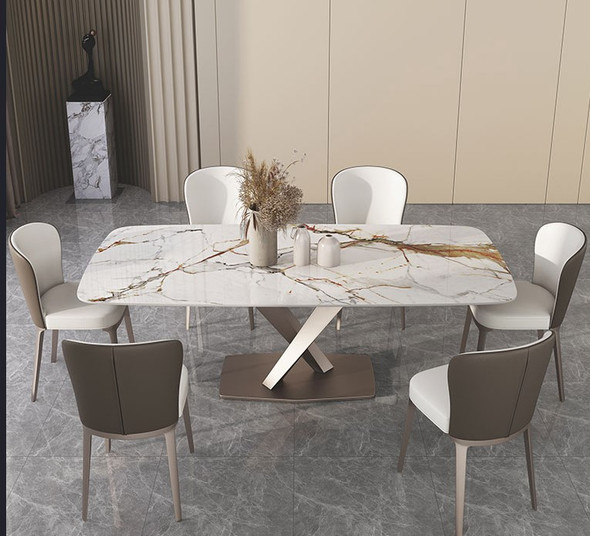 White Gold Sintered Stone Dining Table