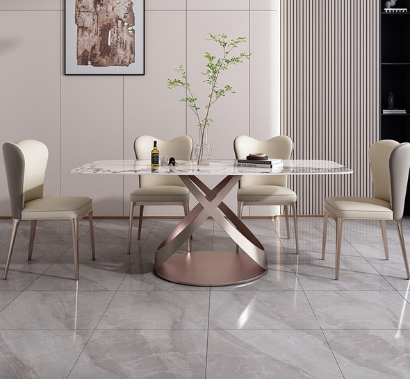 Nordic Glossy Sintered Stone Dining Table