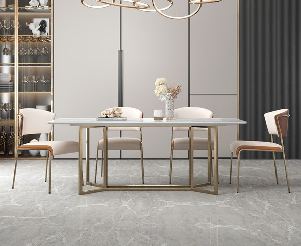 Twin Curved Frame Sintered Stone Dining Table