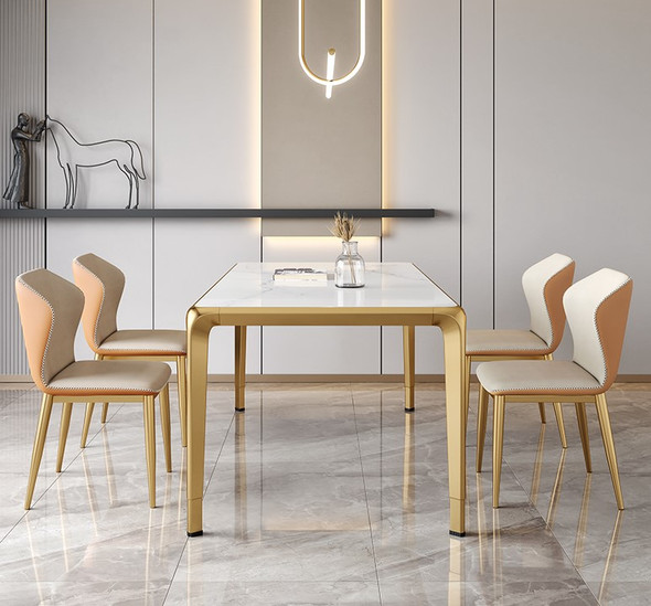 Glossy Snow White Sintered Stone Dining Table
