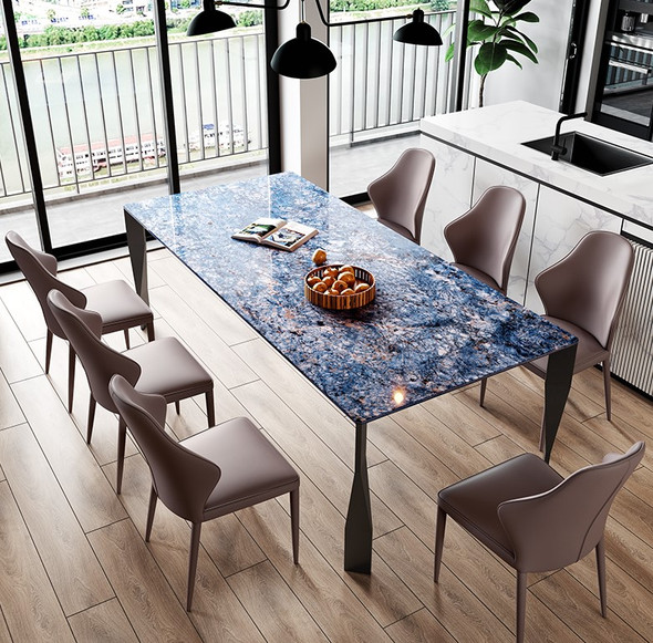 Sapphire Blue Sintered Stone Dining Table