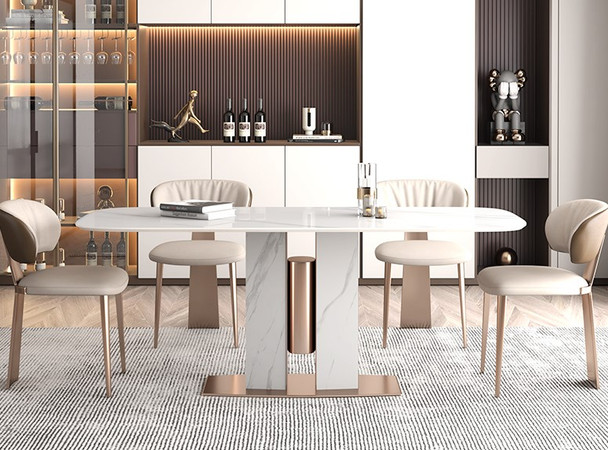Sintered Stone Snow White Dining Table
