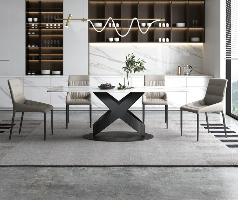 Classic White Sintered Stone Dining Table