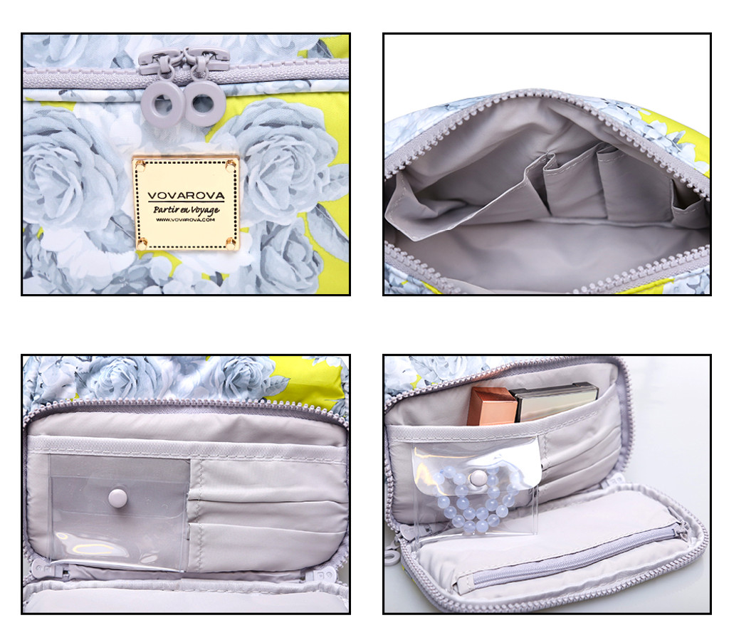 All-in-One Makeup Pouch - Rose Garden - Yellow