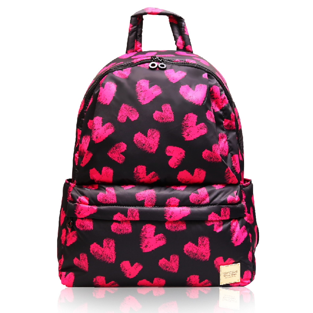 City Backpack - Fuzzy Heart - Pink