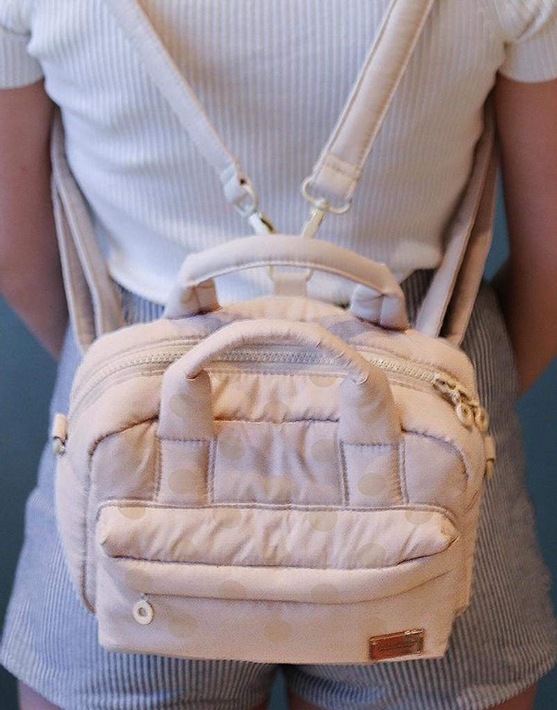 MISS MINI - 3-Way Cubic Backpack - Shiny Dotty Black