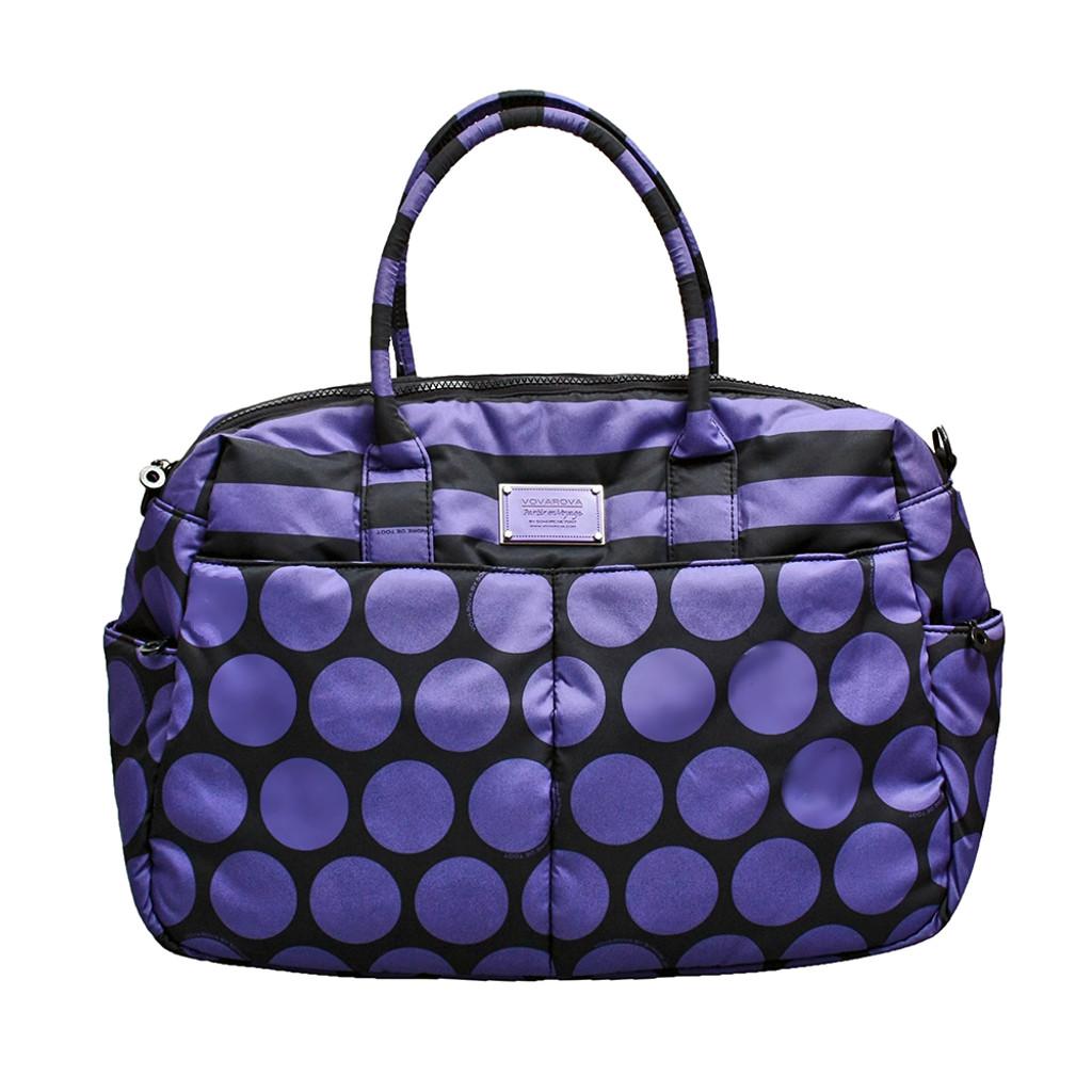 Boston Bag - Black Violet Polka Dot