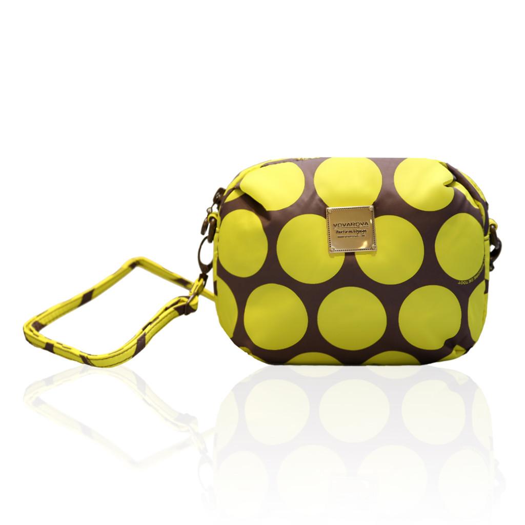 Mini Sling Bag - Polka Dot Yellow / Brown