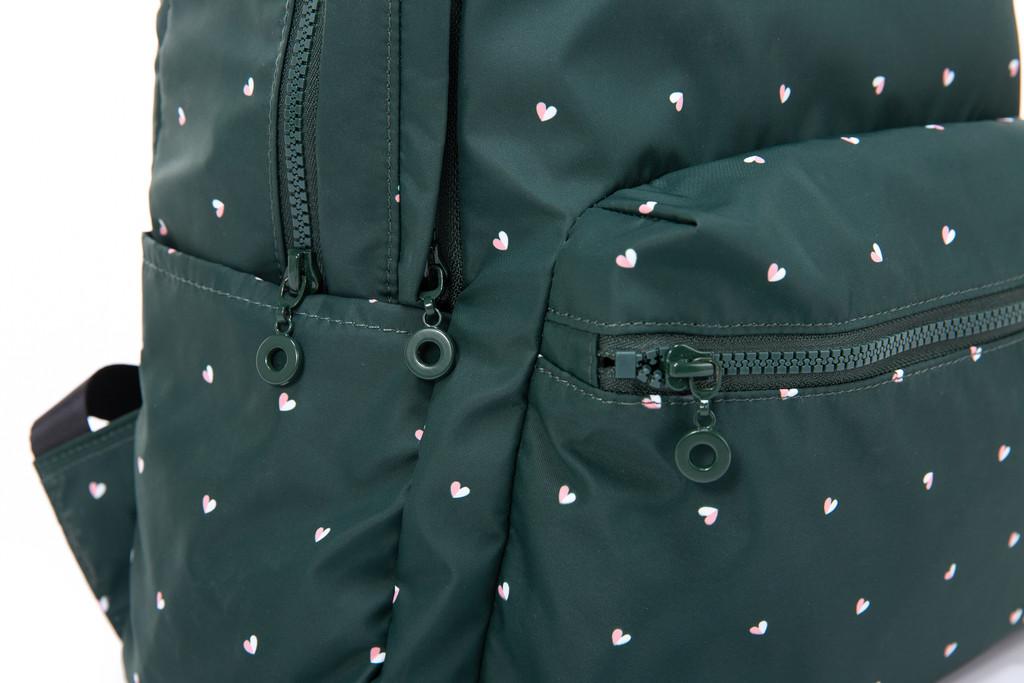 2-Zip Backpack  - Gem of Hearts - Green