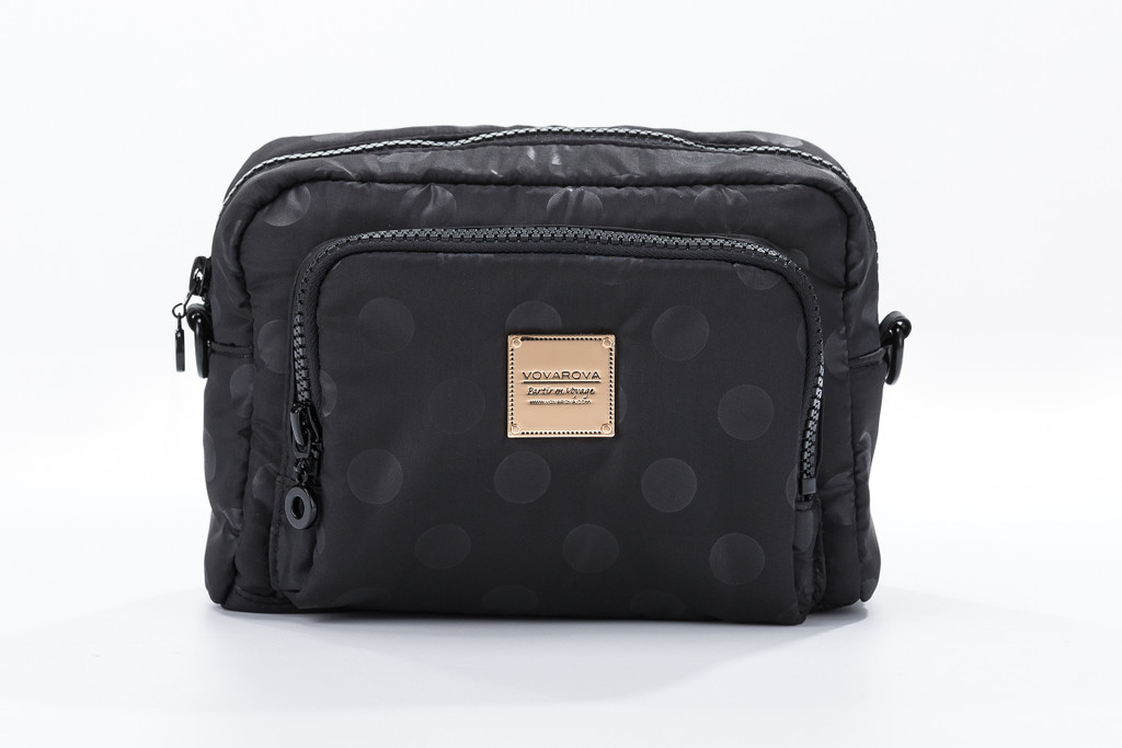 Double Tier Crossbody Bag - Shiny Dotty- Black