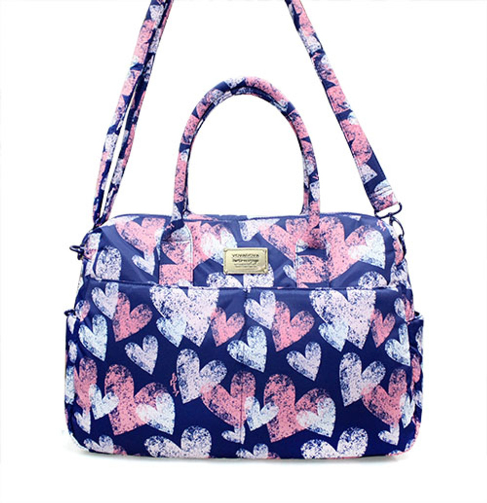 Boston Bag - Dancing Hearts - Blue
