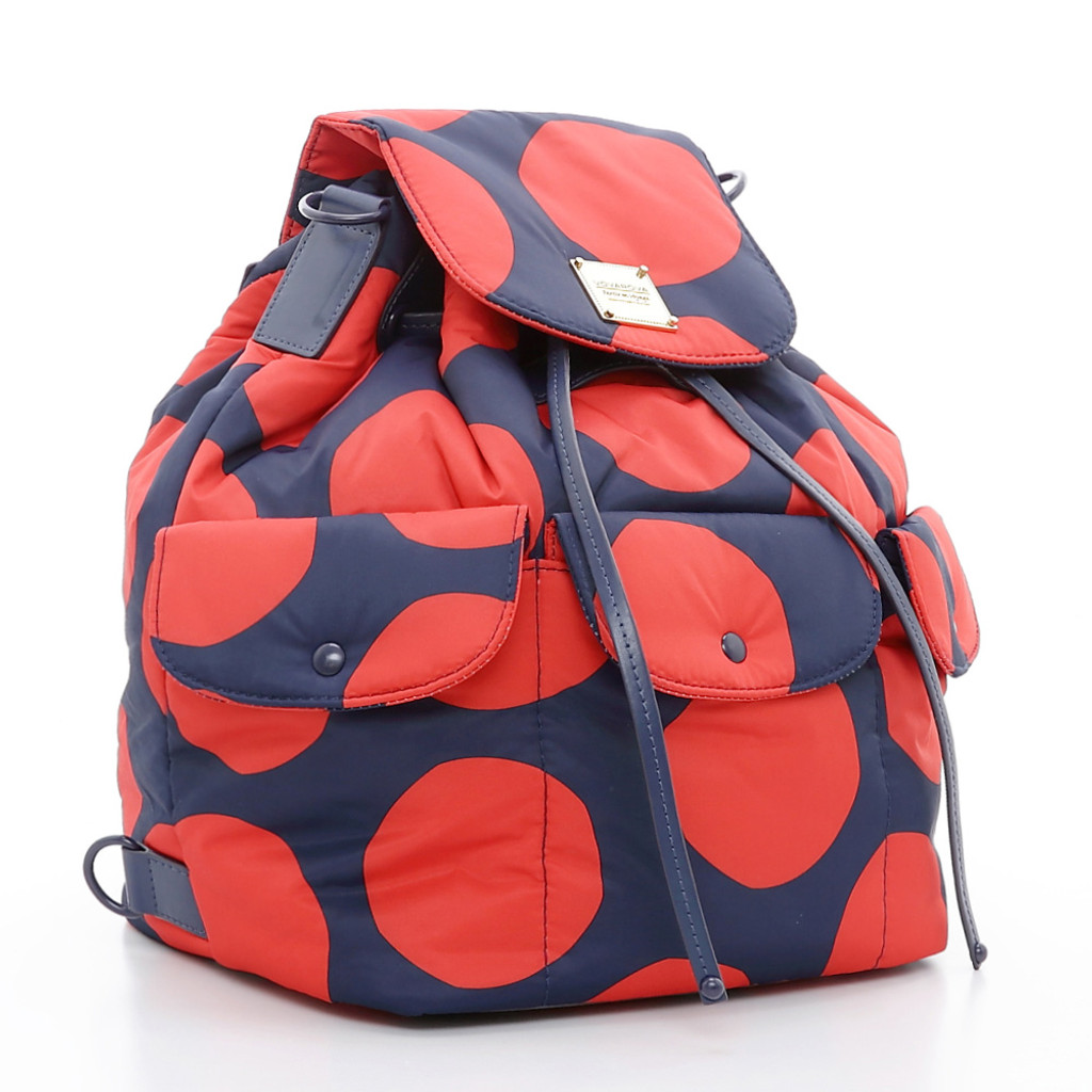 2 way Drawstring Hobo Bag - POP DOT Navy Red