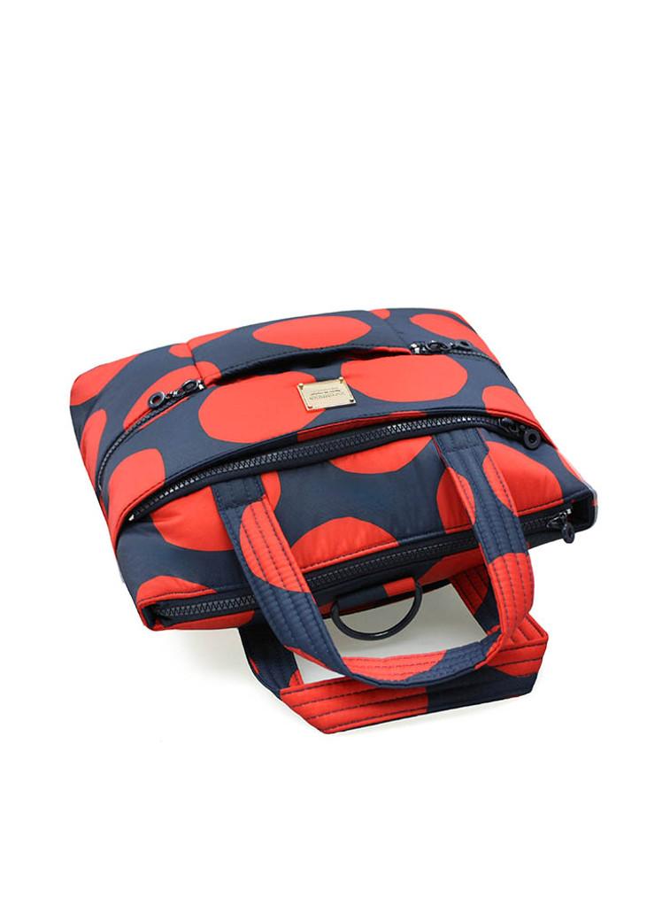 Convertible Satchel / Backpack - Pop Dot - Navy Red