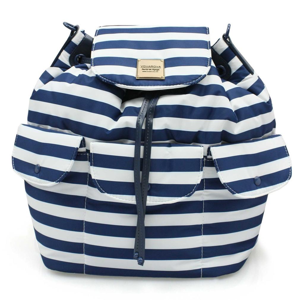 2 way Drawstring Hobo Bag - STRIPE Navy White