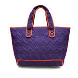 Zoe Tote Bag - Purple With Orange Trim