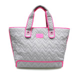 Zoe Tote Bag - GREY WITH PINK TRIM