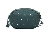2-zip Puff Sling Bag - Gem of Hearts - Green