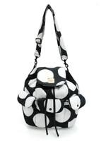 2 way Drawstring Hobo Bag - Pop Dot - Black & White