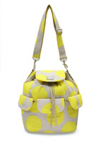 2 way Drawstring Hobo Bag - POP DOT Beige Yellow