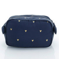 Travel Cosmetics Pouch With Ribbon - Mini Heart - Blue