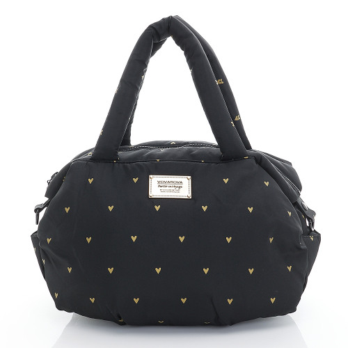 3-Way Shoulder Tote - Mini Heart - Black